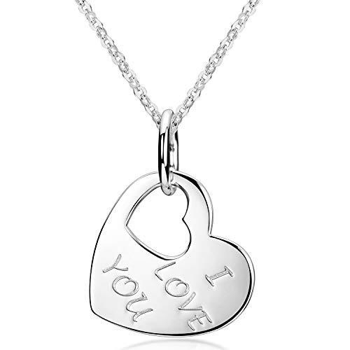 MATERIA Herzkette mit Gravur i love you - 925 Silber Damen Schmuck Herz Liebe Geschenk KA-282-S_K97-45 cm