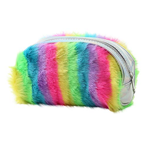ErYao Rainbow Striped Pencil Pouch Cute Plush Pencil Bag for Girls, Zipper Pencil Pouches Large Capacity Zipper Pen Pencil Holder Case for Women Girls Makeup Storage Cosmetic Bag (Green)