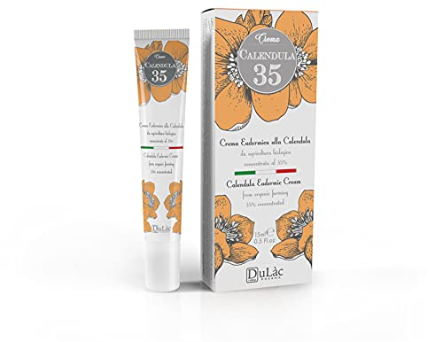 Dulàc Calendula Crème Concentrée - Crème Calendula Bio, avec Panthénol et Vitamine F, pour Hydrater, Apaiser et Réparer les Peaux Sensibles et Problématiques - Calendula 35 Fabriqué en Italie