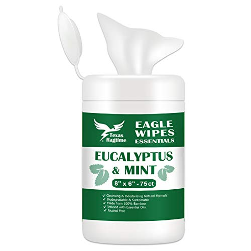 Texas Ragtime Eagle Wipes Essentials EM Eucalyptus Mint Wet Wipes 75 Count Canister Naturally Cleans and Deodorizes Gym & Fitness, Yoga, Pilates Made from 100% Bamboo Fiber Cloth Texture