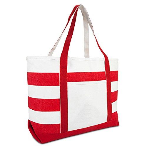 DALIX Striped Boat Bag Premium Cotton Canvas Tote in Red
