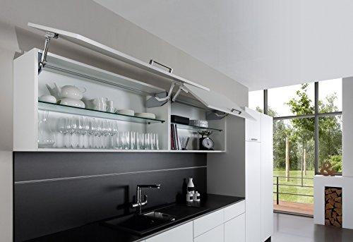 Hochschwenkbeschlag Küche Klappenbeschlag Free Swing für einteilige Klappen aus Holz | Liftbeschlag für Korpushöhe 370-500 mm | Klappengewicht: 4,5-10,3 kg | Möbelbeschläge von GedoTec®