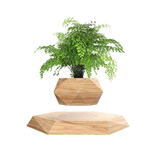 TSY Levitating Air Bonsai Pot for Air Plants Rotation Flower Pot Planters Magnetic Levitation Suspension Floating Pot Potted Plant Home Desk Decor (Wood Color)