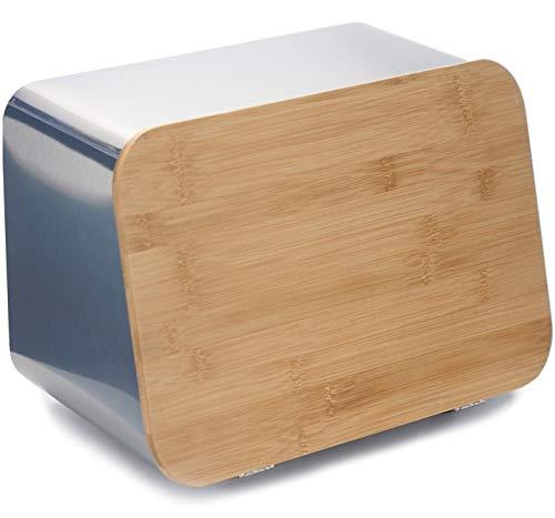 Großer Brotkasten mit Bambus-Schneidebrettdeckel für Küchentheke, Edelstahl, 34,3 x 20,3 x 19,8 cm