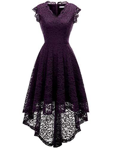 MODECRUSH Damen Abendkleider Cocktailkleid Party Kleider Abschlussball Spitzenkleid XL Grape