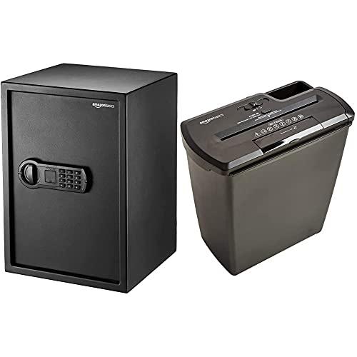 Amazon Basics - Haussafe, 50 l & Aktenvernichter, 7-8 Blatt, Streifenschnitt, CD-Schredder