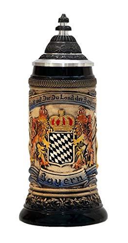 Zöller & Born Chope de bière Allemande étain Bavaria Armoiries nationales dans Le Panneau Central 0,25 litres ZO 1661-906