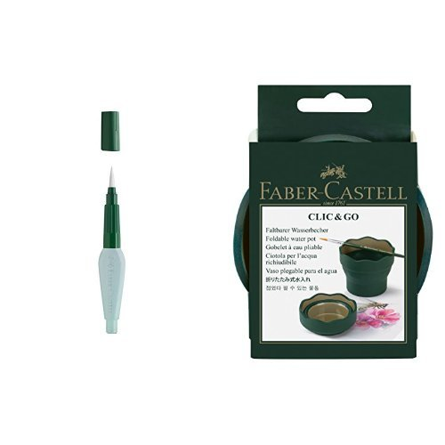 Faber Castell 185105 - Pincel con cerdas de hilo sintético y depósito de agua de 6 ml + Faber-Castell - Vaso para el agua Clic & Go plegable fácil de guardar, color verde y oro