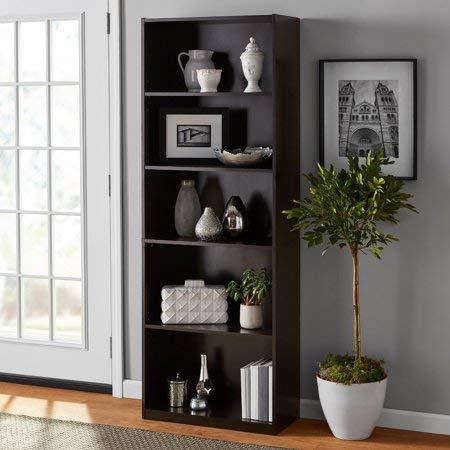 Mainstay` 5-Shelf Wood Bookcase (White, 5-Shelf) (Brown)