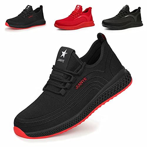 Zapatos de Seguridad Hombre Ligeros Calzado de Trabajo Mujer Punta de Acero Zapatillas Seguridad Transpirables Comodo Negro Rojo 43