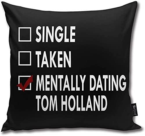 Funda de cojín decorativa con cremallera oculta de Dating Tom Holland de 45 x 45 cm, de algodón, muy suave, para sofá, cama, dormitorio, oficina, coche