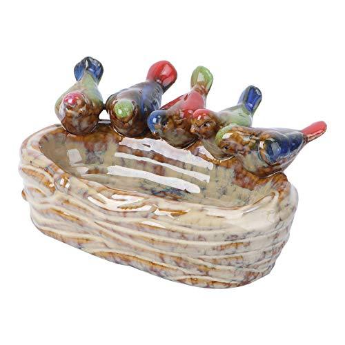 Cabilock Keramik Vogel Feeder Vintage Blumentopf Retro Sukkulenten Pflanzer Topf für Zuhause Outdoor Garten Terrasse Dekoration Beige