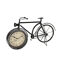 WHW Whole House Worlds Rustic Fat Tire Bicycle Clock, Quartz Movement, Analog Time Piece, Metal, 15.25 L x 2.0 W x 9.5 H inches, 1.25 lbs, for Tables, Desks and Mantels, Distressed Black