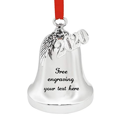 JUPPE Custom Personalized Silver Engraved Christmas Bell Ornaments for Xmas Tree Wedding Anniversary Decoration Pendants with Angel Wings & 2021 Charm (Custom Link)