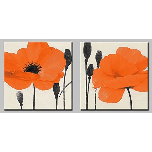 2 Piece Canvas Floral Wall Art Amazon Com