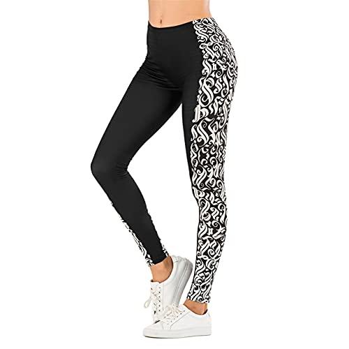 Mujeres Sexy Legging Hoja Impresión Fitness Slim Legins Alto Cintura Leggings Mujer Pantalones Jogging (Color : R0031UR21, Size : One Size)