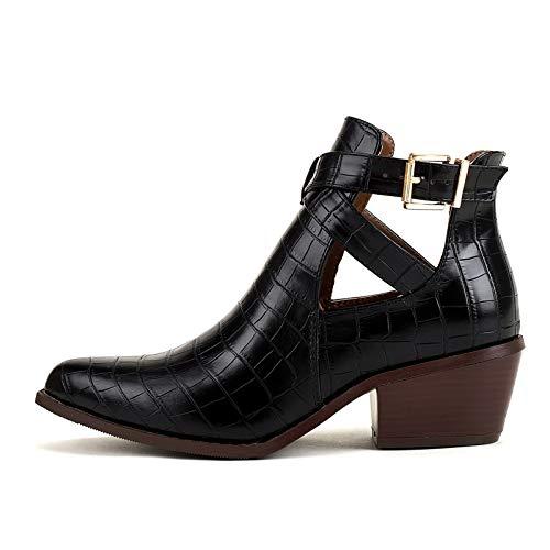 GGBLCS Damen Western Stiefeletten Blockabsatz Cutout Cowboy Boots Schnallenriemen Runde Zehen Bike Stiefel,Schwarz,37 EU