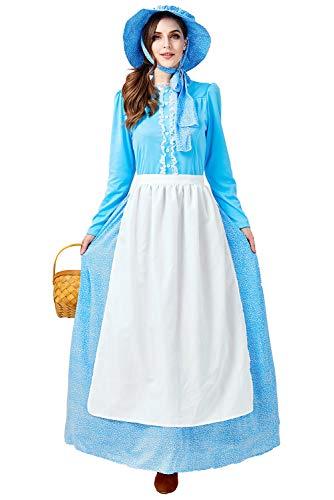 helymore Mujer Halloween Disfraz de Pionero Colonial Talla Extra Vestido de Criada Victoriana Conjunto Completo