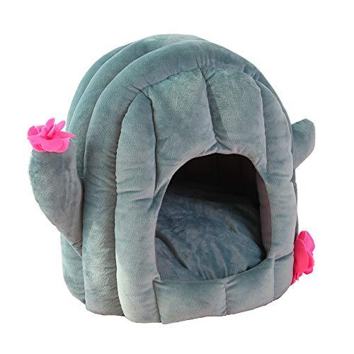 Vinnykud Kaktus Hundehütte Hundebett Indoor,Weiche Katzenhöhle Katzenhaus Haustier Bett Warm Schlafsack mit Abnehmbar Kissen für Hunde Katzen Hasen, 3 Größen
