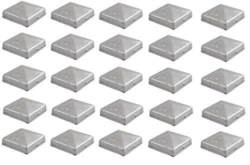 Baumarktplus 25x Pfostenkappe verzinkt 91 mm Pyramide Abdeckkappe für Pfosten 9 x 9 cm