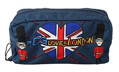 Dolce & GabbanaBlue #DGLovesLondon Mini Hand Purse Toiletry Nylon Bag