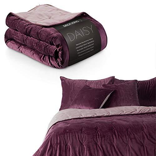 DecoKing Tagesdecke 220x240 cm violett lila zweiseitig Steppung Velvet Samt Daisy