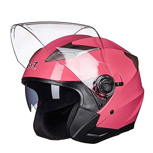 ZWL Moto Type de retournement Double lentille Casque Locomotive Hommes et Femmes À moitié Casque,Pink,L