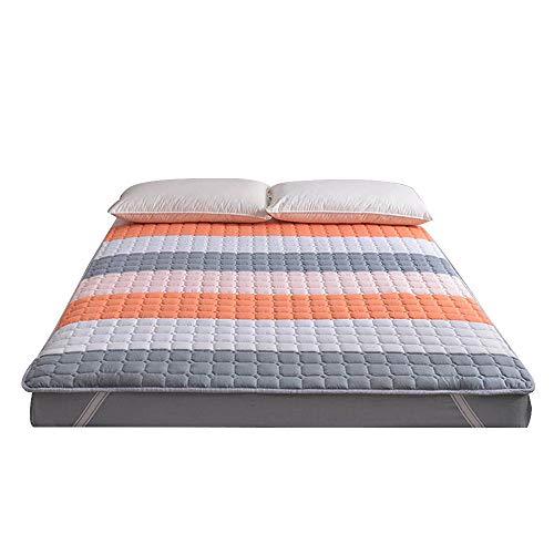 WENYAO anti-slip opvouwbare Tatami vloermatras, gewatteerd dikker bed matras slaapzaal Hotel beschermer Futon matrassen met machine wasbaar matras - 180x200 cm (71x78 inch) 180x200cm B