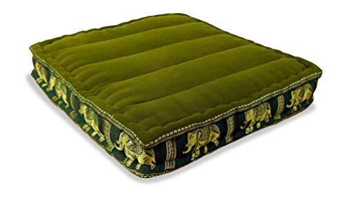 livasia | Cuscino da Pavimento | Cuscino da Meditazione | Cuscino Yoga | Cuscino in kapok con Disegno di Elefanti