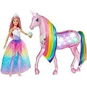 Barbie- Dreamtopia Playset con Bambola e Unicorno Grande che si Illumina con Chioma da Pettinare, Giocattolo per Bambini 3+ Anni, Imballaggio Sostenibile, GWM78