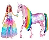 Barbie Dreamtopia Licorne rose Lumières Magiques crinière arc-en-ciel, sons et lumières et poupée princesse, emballage fermé, jouet pour enfant, GWM78