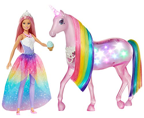 Barbie-FXT26 Barbie Dreamptopia Muñeca con Pelo Rosa y su Unicornio Luces Mágicas (Mattel GLL70), multicolor, Embalaje estándar