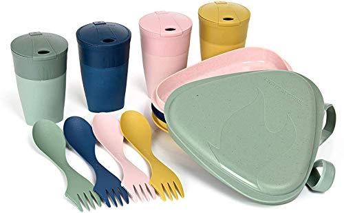 Light My Fire Vajilla Camping 4 Personas - Kit Picnic 13 Cubiertos Camping - Vajilla Plastico Reutilizable 100% sin BPA - Microondas y Lavavajillas - Cubiertos para Llevar Acampada Almuerzo Picnic Set