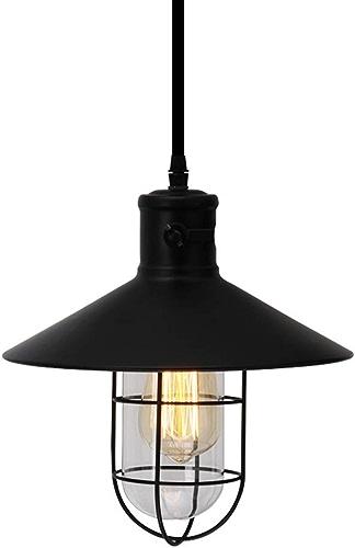 Shirley Home Pendentif créatif lumière Vintage Fer Restaurant Plafond éclairage Bar Lustre pour Salon Table décoration luminaire-Noir Eclairage de Plafond