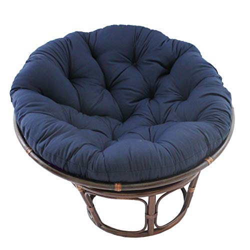MISC 52 Inch Navy Blue Papasan Cushion Only Cotton Rounded Tufted Oversized Chair Pad Floor Pillow Use Plush Indoor Thick Comfy Solid Color, Polyester