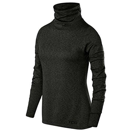 TCA Warm-up Damen Thermo-Laufshirt mit Rollkragen - Langarm - Dunkelgrau, M
