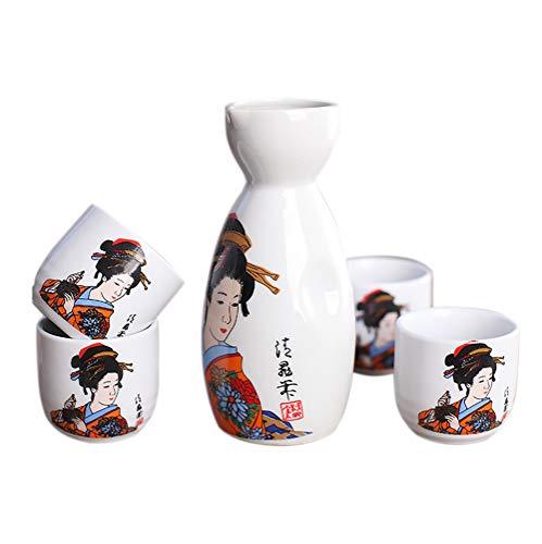 Panbado Juego de Sake de 5 Piezas de Gres, Conjunto Tradicional Japonés con 1 Botella de Sake y 4 Sake Cups de Cerámica, Estilo Japonés, Mejor Regalo de Cumpleaños, Navidad, San Valentín - Dama