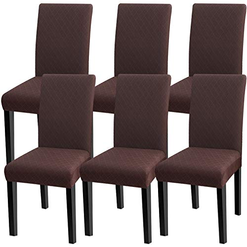 Fuloon 6 Pack Super Fit Stretch Removable Washable Short Dining Chair Protector Cover Seat Slipcover for Hotel,Dining Room,Ceremony,Banquet Wedding Party (Deep Coffee)