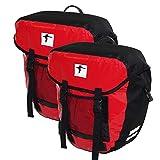 Red Loon 2X robuste Fahrradtasche aus LKW-Plane – wasserdichte Doppelpacktasche für Gepäckträger in rot-schwarz