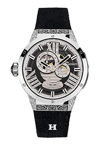 HÆMMER Magical Damen Armbanduhr Analog Automatik aus Edelstahl mit Kalbslederarmband