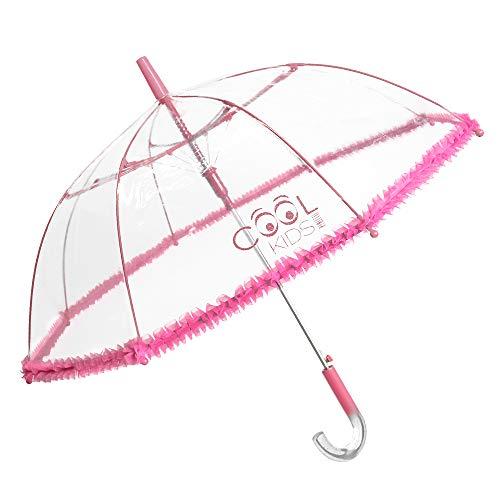Kinder Regenschirm für Mädchen mit Glitzer Griff - Schirm mit Transparenter Kuppel und Pink Volants - Kinderschirm Automatik - 5 bis 7 Jahre - Durchmesser 74 cm - Perletti Cool Kids