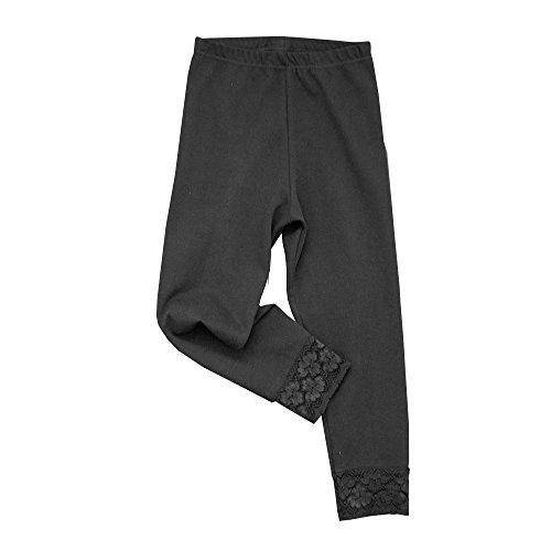 HERMKO 52722 Mädchen Capri-Leggings mit Raschelspitze am Abschluss, Farbe:schwarz, Größe:164