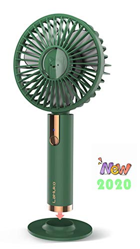 LaHuko Mini Handheld Fan USB Fan Desk Small Personal Portable Fan with Integrated Rechargeable Battery and Base Electric Fan for Travel Office Room Household (Green)