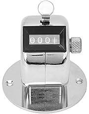 Contador de conteo manual de 4 dígitos, Contador de conteo manual de metal Clicker de contador digital de vueltas, Herramienta de conteo portátil de aleación de aluminio con base