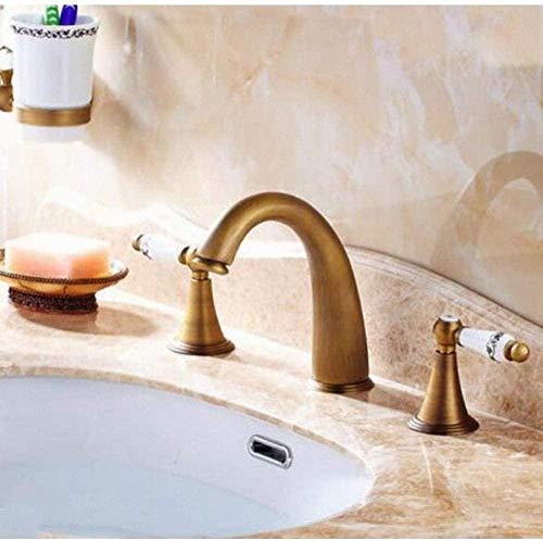 Grifería Montado en la cubierta 3 orificios Bañera Mezclador Grifo Vintage Retro Latón antiguo Extendido 2 manijas Grifo del lavabo del baño