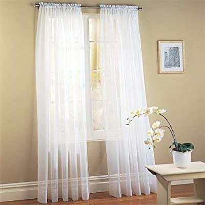 "Jasmine Linen 2 Piece Sheer Luxury Curtain Panel Set for Kitchen/Bedroom/Backdrop 84"" Inches Long (White)"