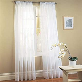 """Jasmine Linen 2 pc Sheer Luxury Curtain Panel Set for Kitchen/Bedroom 84"""" inch Long Variation of Colors (White)"""