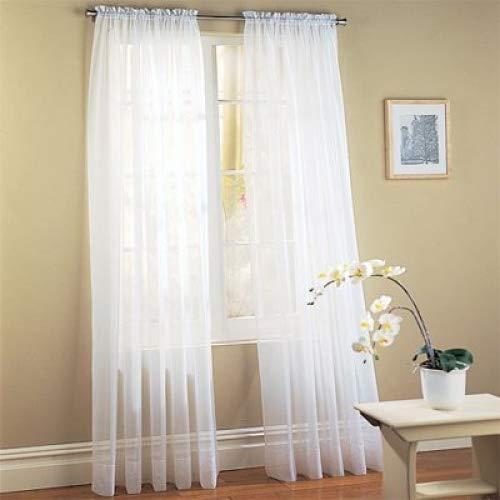 "professional Jasmine Linen Sheer Luxury Curtain Panel Set 2 Piece Kitchen / Bedroom / Background 84 "" Length…"