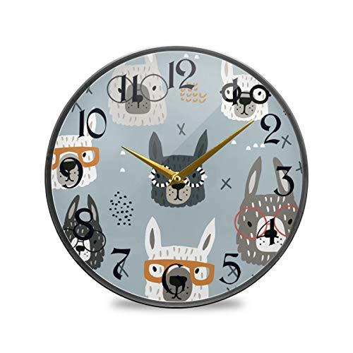ART VVIES Reloj de Pared Redondo de 9,5 Pulgadas Que no Hace tictac silencioso Funciona con Pilas Oficina Cocina Dormitorio decoración del hogar-Lama con Gafas