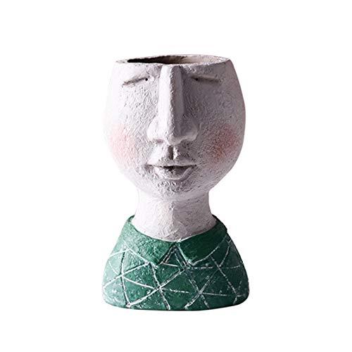 INFILM, Vaso da fiori a scultura in stile vintage, per interni ed esterni, in resina, artistico, a forma di testa, design creativo con volto, per fiori secchi, decorazione da giardino